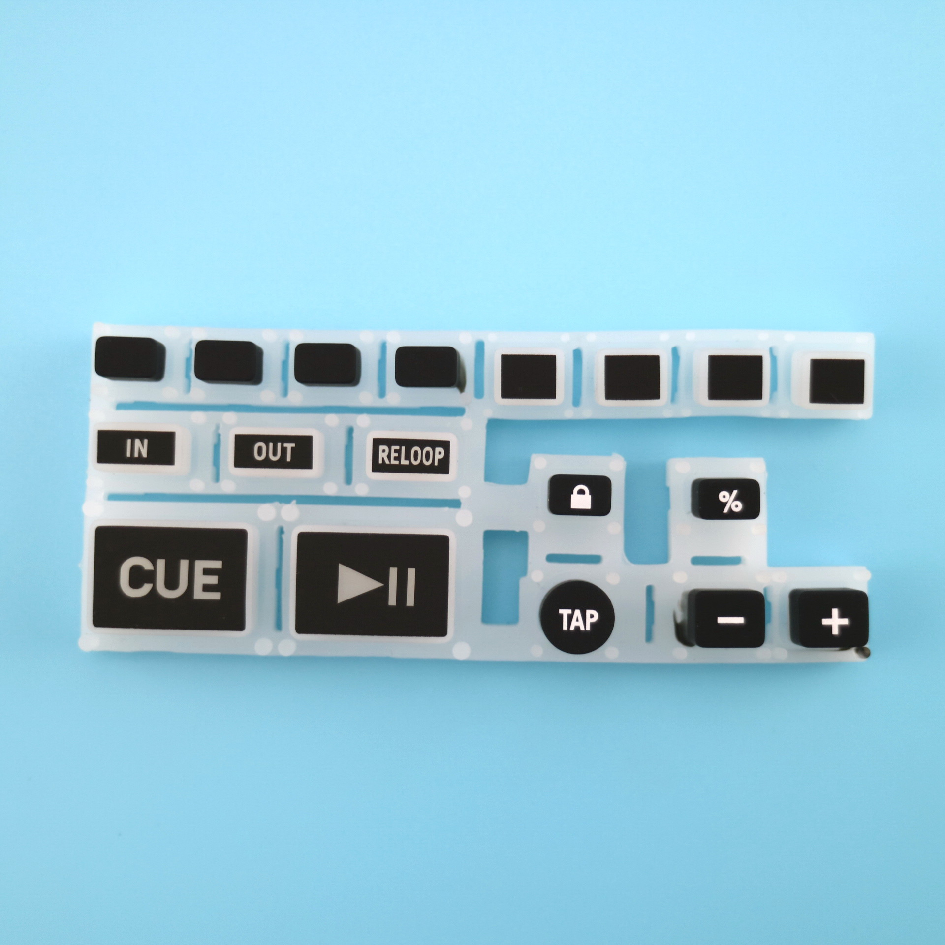 Silicone keypads with backlit effect, with carbon pills, laser etch symbols on button surface
