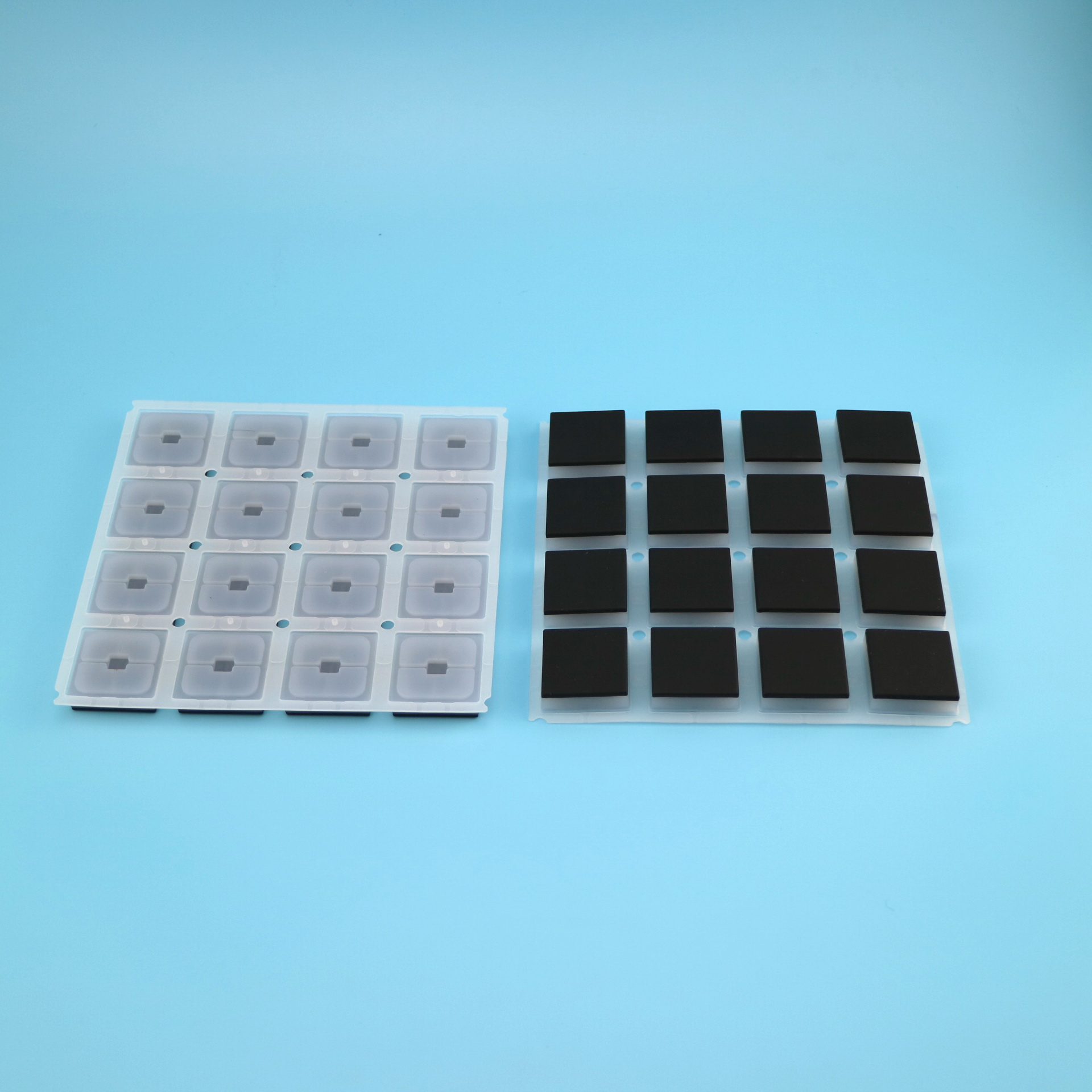 Silicone keypads with backlit effect, with carbon pills,  twice mold silicone rubber keypads